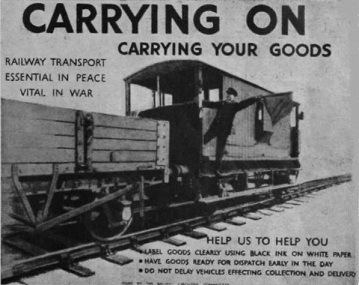 Poster produced during the early part of the Second World War regarding carriage of goods on the railways.