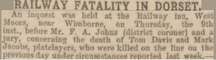 Copy of newspaper report of railway fatality in Dorset ... Western Gazette 1893