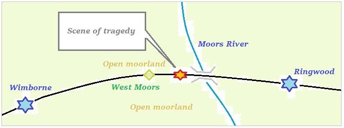 Sketch map of railway between Wimborne and Ringwood